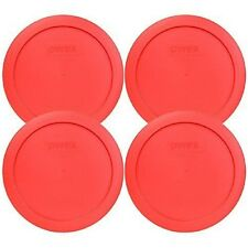 "Pyrex 6.5"" 4 Cup Lid Fit 5-3/4"" Diameter Glass Bowls Round Red Plastic 4 Pack"