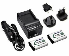 Charger UK EU US  + TWO Camera Batteries SONY NP-BX1 NPBX1 CyberShot DSC-RX100