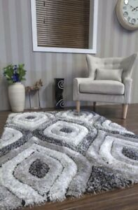 Rugs Approx 7x5ft 160x210cm Tear Drop 3D Rugs Top Quality Grey-Cream-Silver Rugs