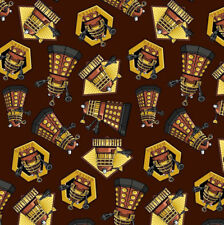 Dr Who Daleks Brown Exterminate TV Series Licensed Quilt Fabric FQ *New*