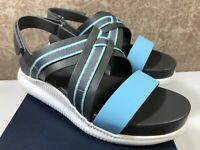 Cole Haan 2.ZEROGRAND Leather GRAY-BLUE Criss Cross Strap Casual Sandal 10.5B US