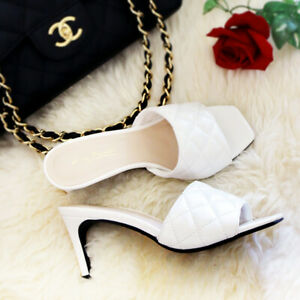 NEW White Quilted Square Toe Faux Leather Mid Heel Slides Mules Sandals Shoes US