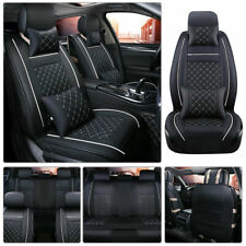 From US Car Seat Cover Size M PU Leather 5-Seats Front & Rear Cushion W/pillows