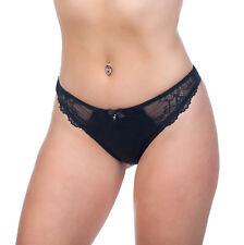 Alegro Lingerie Flirt Women's Lace Overlay Thong Panty Underwear 9033B