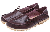 UJoowalk Women's Brown Leather Cowhide Driving Loafer Shoes Boat Casual Flats