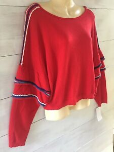 🤍 NWT Love by Design  Red V Back Lightweight Knit   Fabulous Sleeves  Sz L