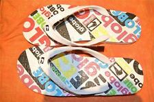 New GLOBE Surf Thongs Mens Size 8 MATRIX Design RUBBER THONGS White-MULTI LOGO