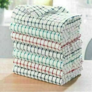 Pack Of 12 Terry 100% Cotton Tea Towels Set Dish Cloths Kitchen Cleaning Drying