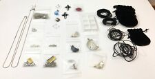 Jewelry Making Supplies - Crystal Pendants & Sterling Silver Chains - Entire Lot