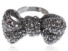 Gunmetal Tone Minnie Ribbon Bow Tie Flapper Girl Crystal Rhinestone Charm Rings