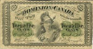 Canada 25 Cents Dominion Currency Banknote 1870