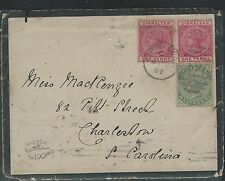 GIBRALTAR (P0112B) QV 1DX2+1/2D  ON MOURNING COVER 1902 TO USA WITH CARD