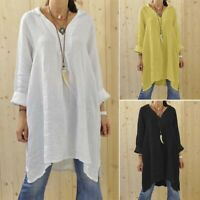 ZANZEA Women Long Sleeve V Neck Tunic Tops Irregularity Hem Blouse Kaftan Tee