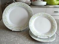 "CROWN MING FINE CHINA 3PC. DINNERWARE PLATE SET in the ""SPRING GARDEN"" PATTERN"