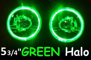 "1pr 5 3/4"" 146mm Semi Sealed Headlights Green Halo Angel Eyes DRL"