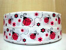 "1 m x  7/8"" Pink Ladybug w/- Glitter Wings White Grosgrain Ribbon"