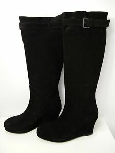 NEW WOMENS BODEN UK 8.5 EU 42 BLACK SUEDE HIGH WEDGE HEEL OVER THE KNEE BOOTS