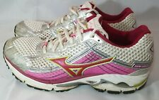 Mizuno Wave Rider 15 Womens Athletic Running Shoes Size W8 Pink Silver White