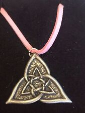 "CELTIC TRIANGLE DR55 Made From Fine English Pewter On a 18"" Pink Cord Necklace"