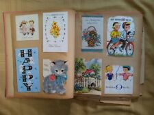 Vintage 1950s Girls Scrap Book of Childrens Greeting Cards  Valentine Christmas