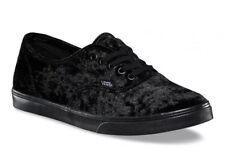 Vans Mens 8.5 Womens 10 Authentic Lo Pro Velvet Black Black Sole Sneakers Shoes