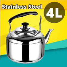 4L Whistling Top Kettle Stainless Steel Silver Tea Coffee Kitchen Camping Stove