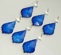 CHANDELIER CUT GLASS CRYSTALS VINTAGE BLUE LEAF DROPS CHRISTMAS TREE DECORATIONS