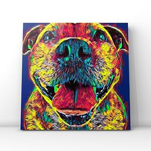 Square canvas - Staffordshire Bull Terrier colourful abstract framed wall art