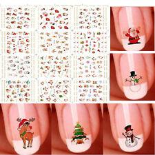 12 Sheet Christmas 3D Nail Art Stickers Cute Snowmen Nail Decals Decoration Hot