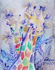 Watercolor Rainbow Giraffe Colorful Wildlife Floral - 11x14 Signed Print