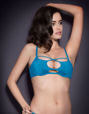 Agent Provocateur LIZA BRA in TURQUOISE STRETCH SILK - 32C - BNWT