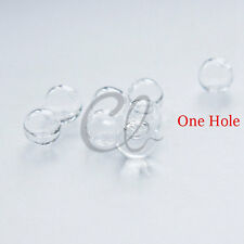 10pcs Hand Blown Hollow Glass Beads- Round Clear with One Hole 8mm to 10mm (28H)