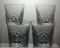 "BOHEMIA CRYSTAL CUT GLASS TUMBLERS SET OF 4 - 3 1/3"" (8.5 CM) TALL"