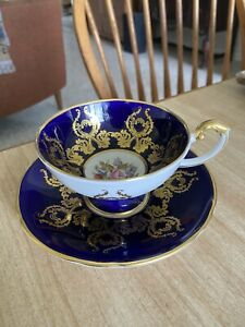 Aynsley Cobalt Blue Gold Cabbage Rose Cup & Saucer Signed J A Bailey PLEASE READ