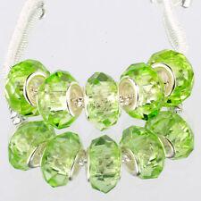 Crystal Grass green 5pcs MURANO glass bead LAMPWORK fit European Charm Bracelet