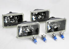 "FOUR 4x6"" Halogen Semi Sealed H4 Glass Black Headlights Conversion w/ Bulbs"