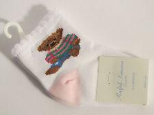 Ralph Lauren Layette Baby Girl Pink & White Teddy Bear Socks 0-6 Months New!