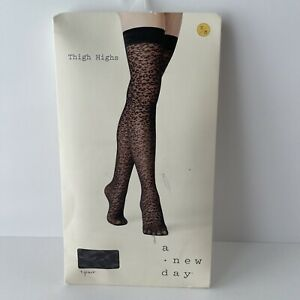Women's Leopard Print Thigh Highs Pantyhose ~A New Day~ Ebony Black Size S/M