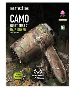 New Andis 75380 Camo Quiet Turbo 1875W Tourmaline Ionic Hair Dryer 125-250 Volt