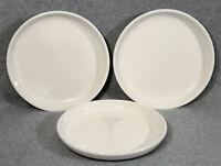 "CRATE & BARREL STAXX White 8-1/4"" Porcelain Salad Plates Coupe Set Of 3 EUC"