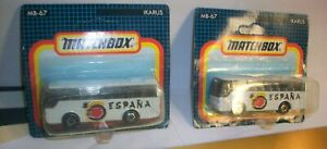 "Matchbox lot of 2  67 IKARUS Bus  "" espana ""      Short card blue New on card"