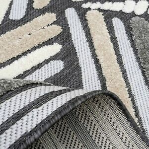 Large Outdoor Rug Weatherproof Modern Beige Grey Tufted Pile Patio Mat CLEARANCE