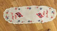 Vintage Norwegian Embroidered Linen-like  Runner/Scarf Hilsen Fra Norge Norway