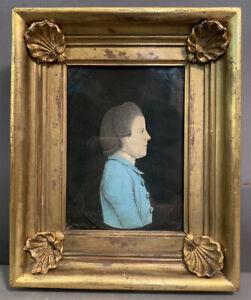 19thC Antique MINIATURE Old DISTINGUISHED GENTLEMAN Oil PORTRAIT PAINTING Frame