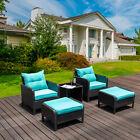 5pc Garden Patio Sofa Table Outdoor Rattan Wicker Armchair Furniture Set Ottoman