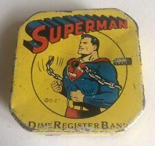 Original Vintage Superman Tin Litho Dime Register Bank DC Comics 1950's Toy