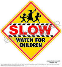 """Slow Watch for Children Ice Cream Concession Truck Child Safety Sign Decal 18.5"""""""