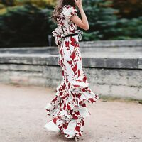 JK New Fashion 2019 Designer Runway Dress Women's One-shoulder Floral
