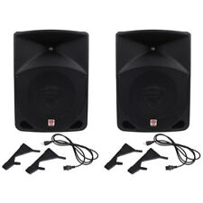 "Pair Rockville Power Gig RPG10 10"" Powered Active 1200 Watt 2-Way DJ PA Speakers"