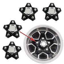 4- El Camino Monte Carlo Rally Wheel Center Hub Caps Black 5 Star Lug Nut Covers